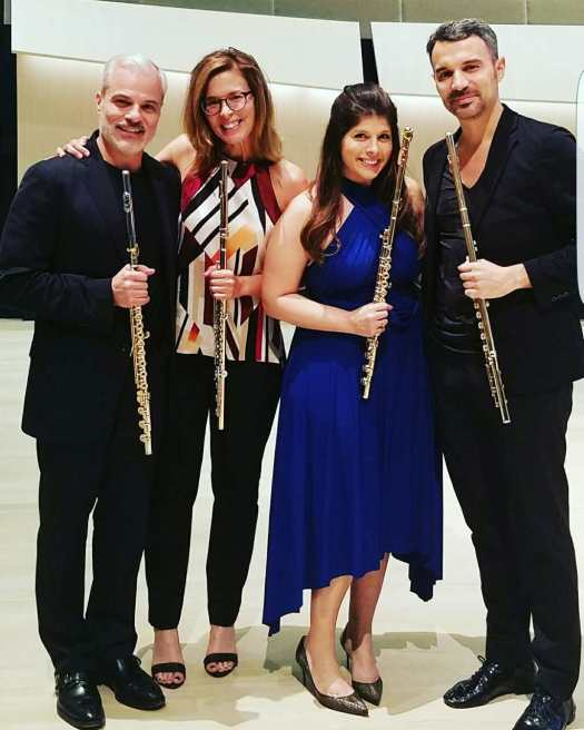 Iowa Flute Intensive goodness: Post concert happiness with my dear friends, Nicole Esposito, Michel Bellavance and Julien Beaudiment